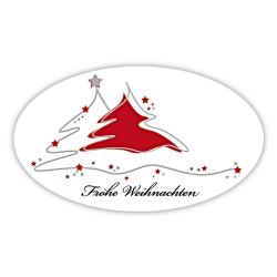 """Weihnachtsaufkleber oval """"Frohe Weihnachten - 2 Bäume"""""""
