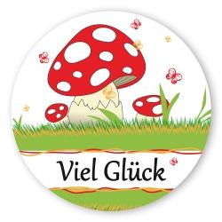 """Geschenk-Aufkleber """"Viel Glück"""" mit Pilz, rund"""