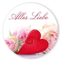 """Geschenk-Aufkleber """"Alles Liebe"""" mit Herz, rund"""
