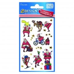 Avery Zweckform® Z-Design 52815, Weihnachtssticker, Weihnachtsmänner, 1 Bogen/8 Sticker