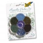 Folia Perlenset Rocailles - 90 g, blau/grün