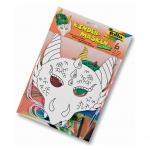"""Folia Kindermaske """"Drachen"""" - weiß, 6 Stück inkl. Gummi"""