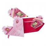 Roth Einladungskarte Schultüte rot/rosa, 4er Blister