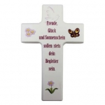 """Kinderkreuz  """"Freude, Glück und Sonnenschein…"""" - Holz, weiß, 15 x 9 cm cm"""