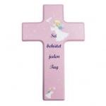 """Kinderkreuz """"Sei behütet jeden Tag"""" -  Holz, rosa, 15 x 9 cm"""