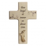 Kinderkreuz mit Aram-Engel - Holz, 15 x 9 cm natur N481/K/DE