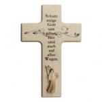 Kinderkreuz mit Aram-Engel - Holz, 15 x 9 cm natur N482/K/DE