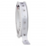 PRÄSENT Zierband Silbersterne - 15 mm x 20 m, weiß