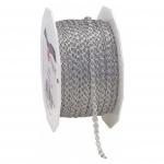 PRÄSENT Zierband Tiber mit Draht - 3 mm x 50 m, silber