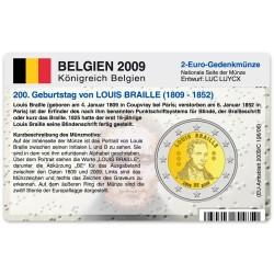 M�nzkarte f�r 2-Euro Gedenkm�nze Belgien 2009