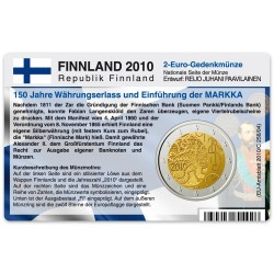 Münzkarte (ohne Münze) für 2-Euro Gedenkmünze Finnland 2010