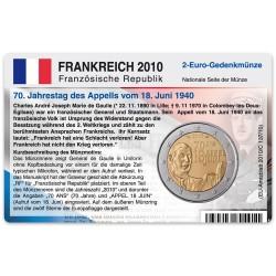 Münzkarte (ohne Münze) für 2-Euro Gedenkmünze Frankreich 2010