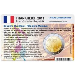 Münzkarte (ohne Münze) für 2-Euro Gedenkmünze Frankreich 2011