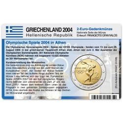 Münzkarte (ohne Münze) für 2-Euro Gedenkmünze Griechenland 2004