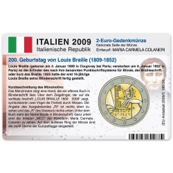 Münzkarte (ohne Münze) für 2-Euro Gedenkmünze Italien 2009