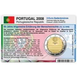 Münzkarte für 2-Euro Gedenkmünze Portugal 2008