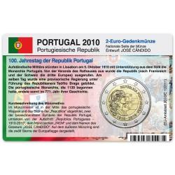 M�nzkarte f�r 2-Euro Gedenkm�nze Portugal 2010