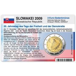 Münzkarte (ohne Münze) für 2-Euro Gedenkmünze Slowakei 2009