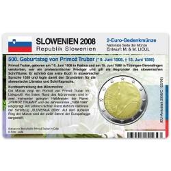 Münzkarte für 2-Euro Gedenkmünze Slowenien 2008