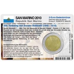 M�nzkarte f�r 2-Euro Gedenkm�nze San Marino 2010