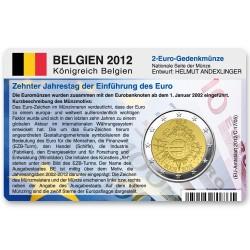 Münzkarte (ohne Münze) für 2-Euro Gemeinschaftsmünze Belgien 2012