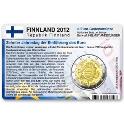 Münzkarte für 2-Euro Gemeinschaftsmünze Finnland 2012