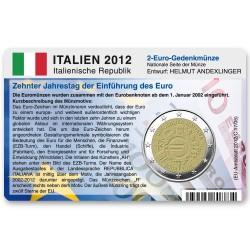Münzkarte (ohne Münze) für 2-Euro Gemeinschaftsmünze Italien 2012