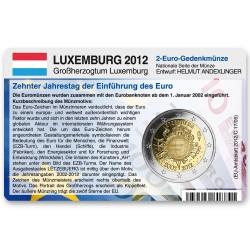 M�nzkarte f�r 2-Euro Gemeinschaftsm�nze Luxemburg 2012
