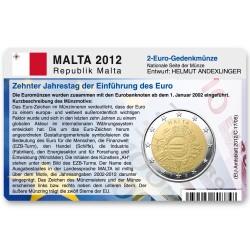Münzkarte für 2-Euro Gemeinschaftsmünze Malta 2012