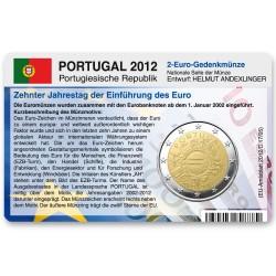 Münzkarte für 2-Euro Gemeinschaftsmünze Portugal 2012