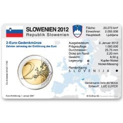 Münzkarte (ohne Münze) für 2-Euro Gemeinschaftsmünze Slowenien 2012