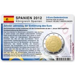 Münzkarte für 2-Euro Gemeinschaftsmünze Spanien 2012