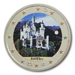 Farbige 2 Euro Sondermünze Deutschland 2012 - Bayern - Schloss Neuschwanstein pfr.