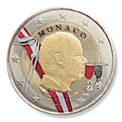 Farbige 2 Euro Sondermünze Monaco 2009 - Fürst Albert II pfr.