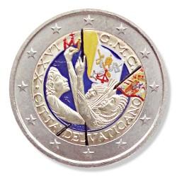 Farbige 2 Euro Sondermünze Vatikan 2011 - Weltjugendtag Madrid pfr.
