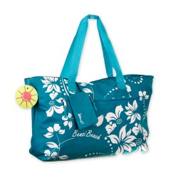 badetasche strandtasche blau mit hawaii bl ten olshop. Black Bedroom Furniture Sets. Home Design Ideas
