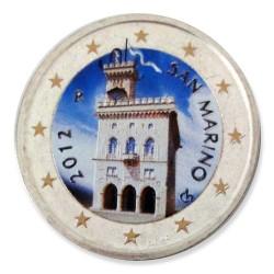 Farbige 2 Euro Kursmünze San Marino 2012 - Regierungspalast pfr.