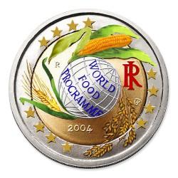 Farbige 2 Euro Gedenkm�nze Italien 2004 - World Food Programme pfr.