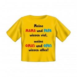 Baby T-Shirt bedruckt - Omas Opas wissen alles