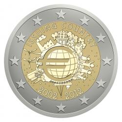 Aufkleber für Münzboxen Issuing Country 2002 - 2012 - 10 Jahre Bargeld