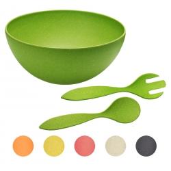 3-teiliges Set Bambus Natur-Design Salatschüssel Ø 26 cm inkl. Salatbesteck