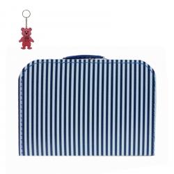 Kinderkoffer blau/weiß gestreift inkl. 1 Reflektorbärchen
