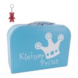 """Kinderkoffer hellblau mit Krone """"Kleiner Prinz"""" inkl. 1 Reflektorbärchen"""