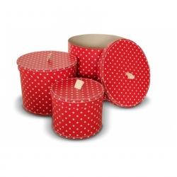 3er Set Pappdosen Geschenkdosen rot mit weißen Punkten Ø 20/25/30 cm
