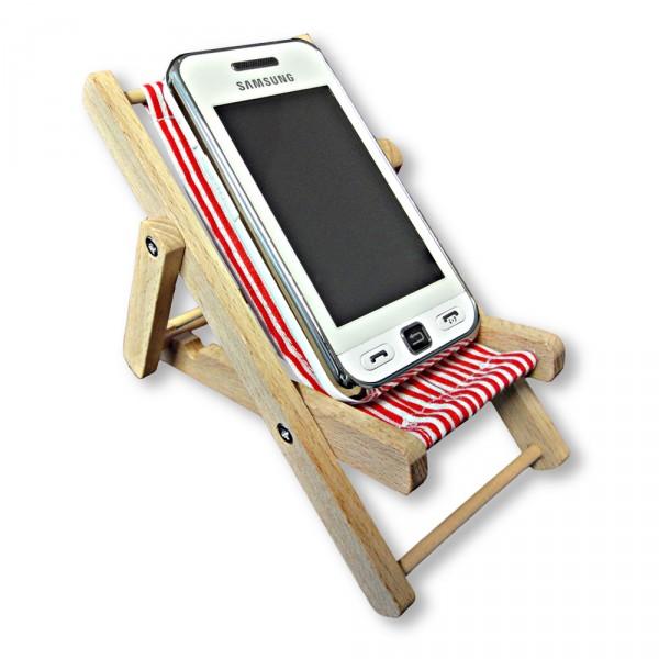 handy liegestuhl handyhalter aus holz und stoff abmessungen ca 12 x 9 x 9 cm ebay. Black Bedroom Furniture Sets. Home Design Ideas