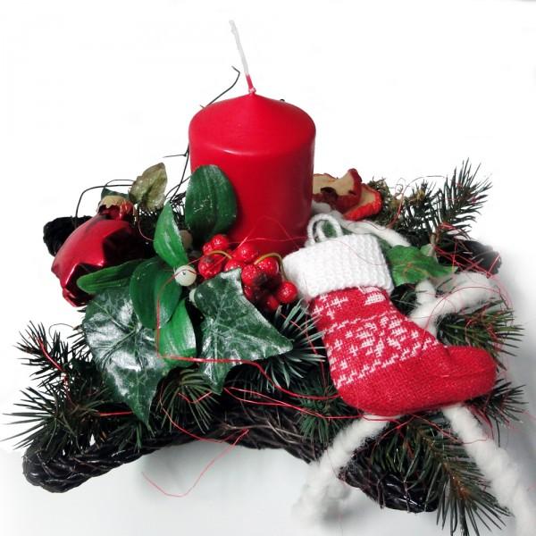 Weihnachtsgesteck Im H Lzernen Stern Mit Kerze Ca 28 X 21