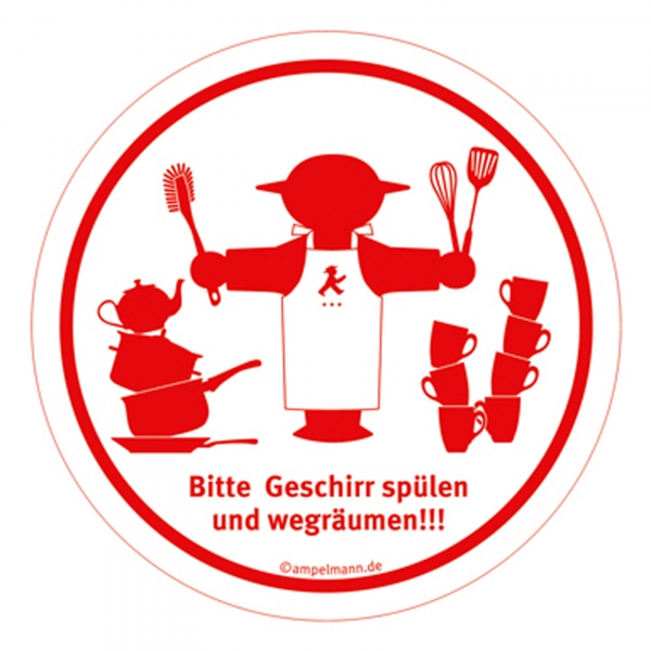 Aufkleber Sticker Wegweiser Nr11 weiß Steher Geschirr  ~ Geschirr Spülen