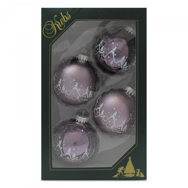 4er set weihnachtskugeln kugeln grau mit schneedeko ca 7 for Christbaumkugeln grau