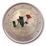 Farbige 2 Euro Sondermünze Italien 2011 - 150 Jahre Republik pfr.