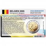 Münzkarte (ohne Münze) für 2-Euro Gedenkmünze Belgien 2005